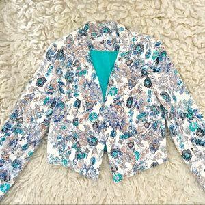 Vintage metallic turquoise paisley blazer cut tobi